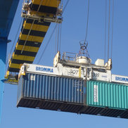 Spreader of a STS container crane