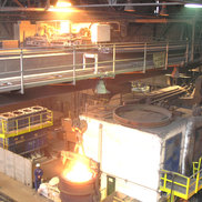 An Energy Guiding Chain in use on a process crane in the Metallurgy industry